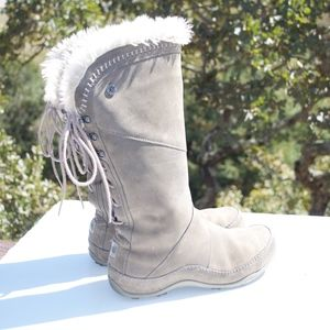 The North Face Janey Gray Suede Graphite Fur Boots